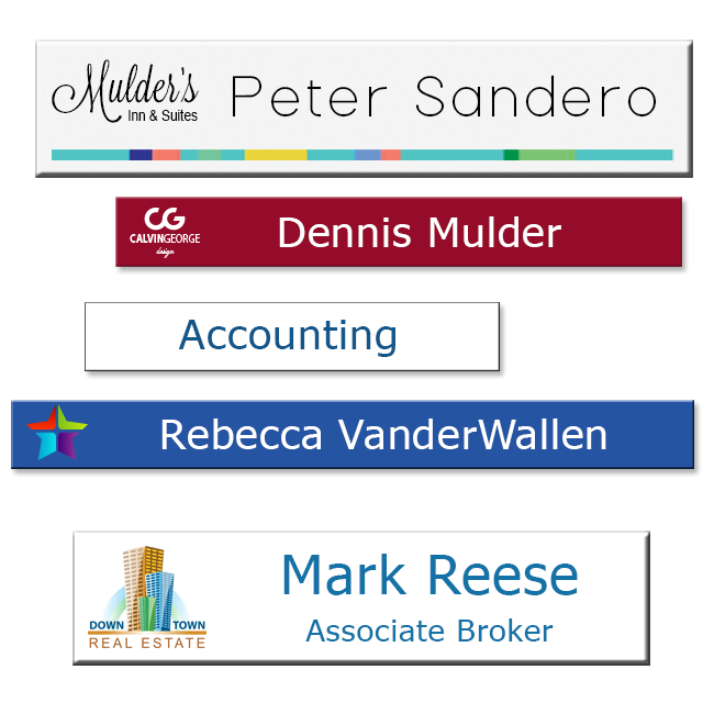 Metal nameplates for offices easily slide into holders. Printed in full color on a white or metal background, with your logos or graphics. Scratch-resistant and durable. NapNameplates.com