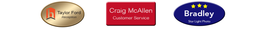 Magnetic Name Badges and Name Tags for Employees. Choose metal or plastic name badges, then personalize online with employee names, logos, graphics and more. NapNameplates.com