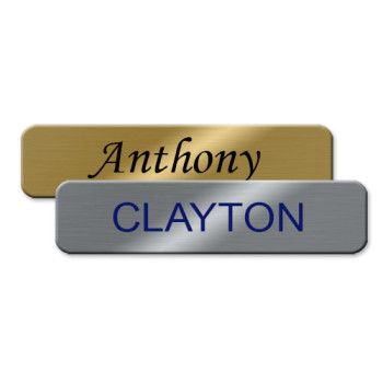 Classic metal name badges for employee name tags. Perfect for a simple employee name tag, these badges are made of durable metal that is scratch-resistant. Personalize yours online! NapNameplates.com