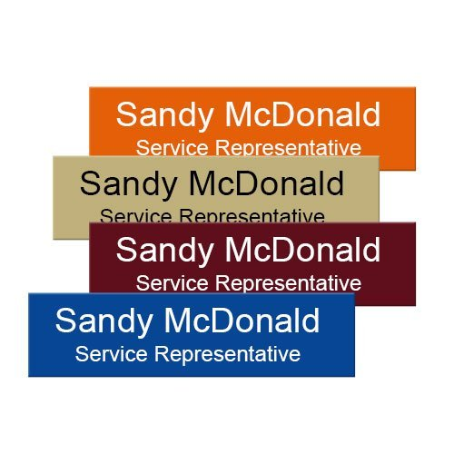 magnetic office name plates in durable plastic, 17 color combinations