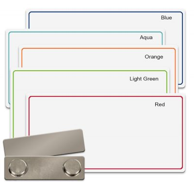 Blank plastic name badges write on with permanent or dry erase marker or use in a UV or sublimation printer - NapNameplates