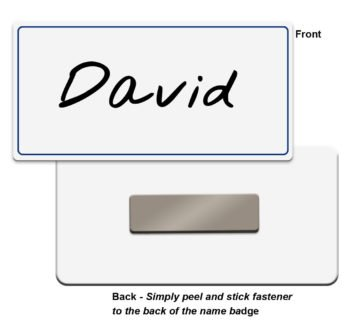 Blank plastic name badge tags with colored border for markers, label makers, sublimation or UV printers - NapNameplates.com