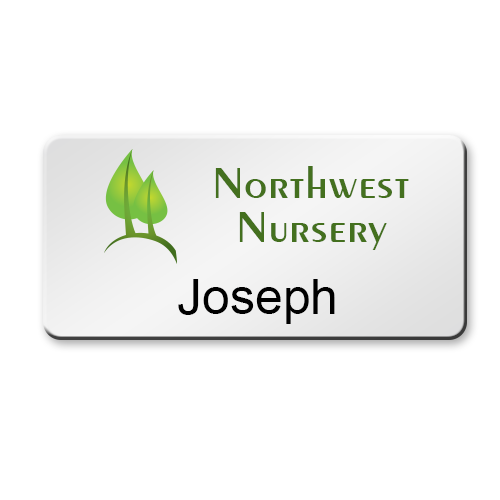 3x15 Magnetic Metal Name Tags Color Printed With Logos