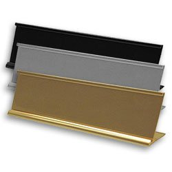 Office Nameplate Holders for cubicles, walls, doors and desks in durable metal. Many sizes and options. NapNameplates.com