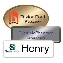 Professional name badges for employees in metal and plastic, engraved or color printed with magnetic, pin-on or clip fasteners. NapNameplates.com