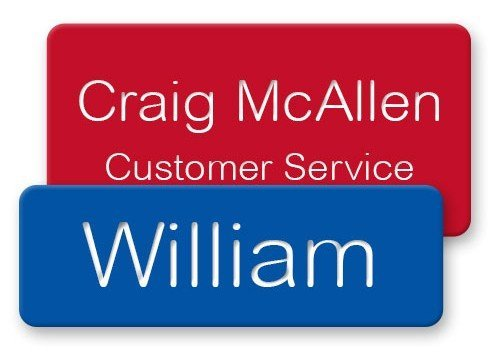Engraved plastic magnetic name badges in vibrant, UV resistant color, scratch proof and personalized for employees and more - NapNameplates.com