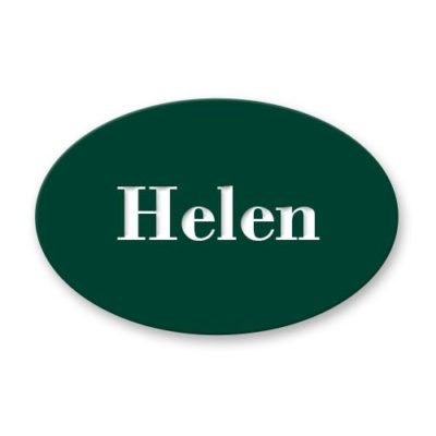 Oval name badges and employee name tags are made of durable, thick plastic and engraved with employee names, titles and more. Design yours online! NapNameplates.com