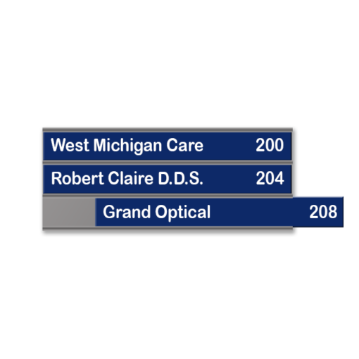 Triple name plate holder for offices, suites, lobbies and more. Changeable and versatile. Durable and long-lasting. NapNameplates.com