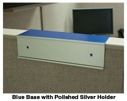 Cubicle nameplate holder in blue and silver - Nap-Nameplates.com