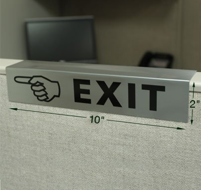 10x2 custom cubicle signs easily slide over any cubicle wall. Color printed with names, titles, logos, graphics and more on durable, scratch-resistant metal. NapNameplates.com