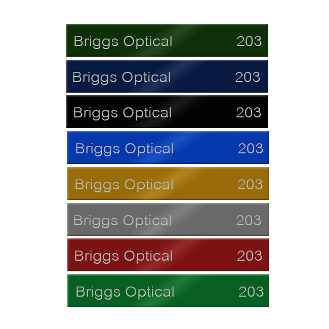 8x1 Engraved Metal Name Plates For Offices In 17 Colors Of