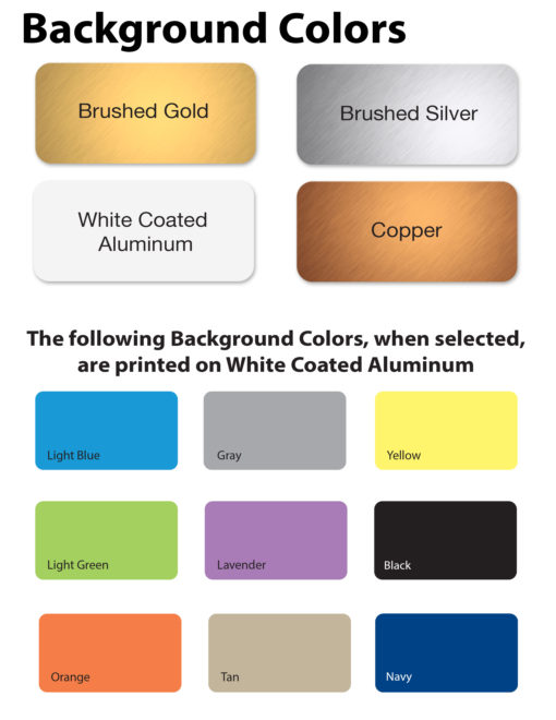 Background color options for office name plates - NapNameplates.com