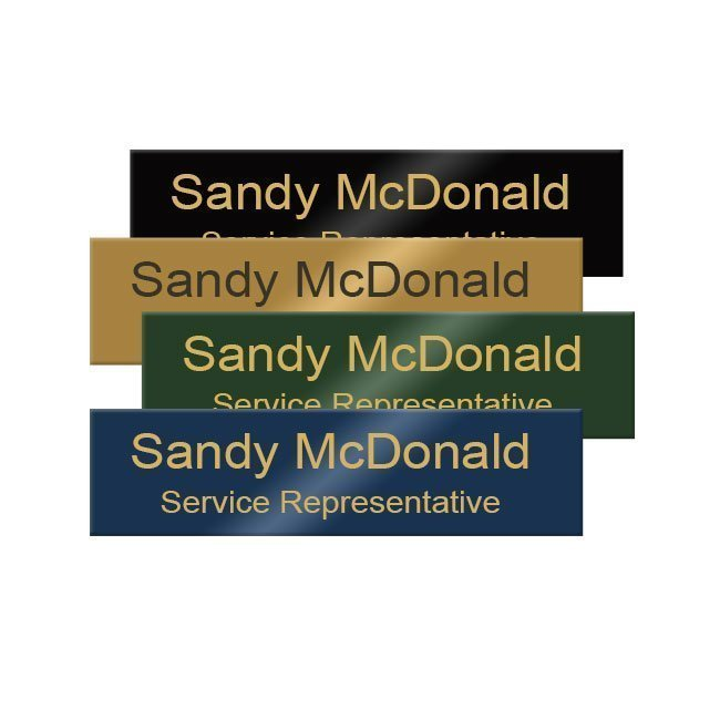 Engraved brass office name plates engraved for employees, doors, walls and more. Customize online. NapNameplates.com