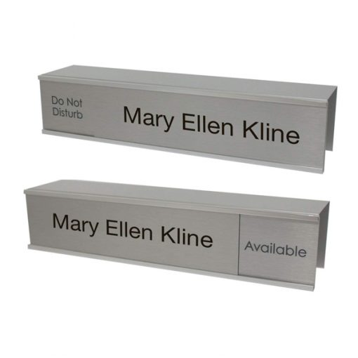 Cubicle Slider Signs and Name Plates in Brushed Silver Metal with Custom-Printed Text - NapNameplates.com