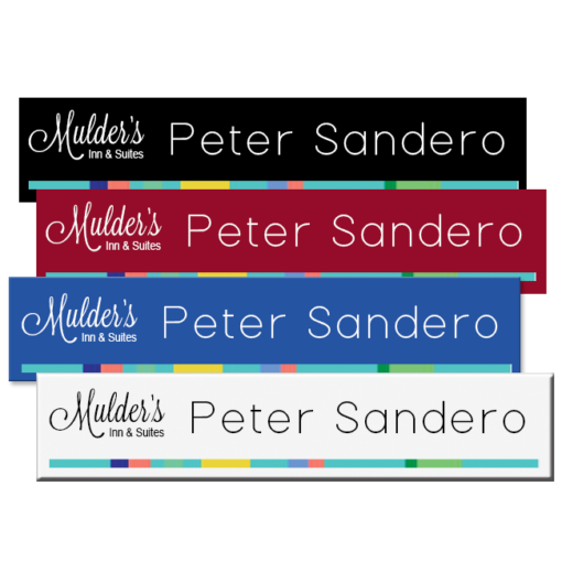 Plastic office name plates with vibrant full color printing of names, logos and more. 10x2 size. NapNameplates.com