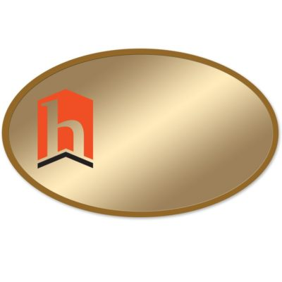 Oval Metal Name Badges with Logo Only Printed in Full Color from NapNameplates.com