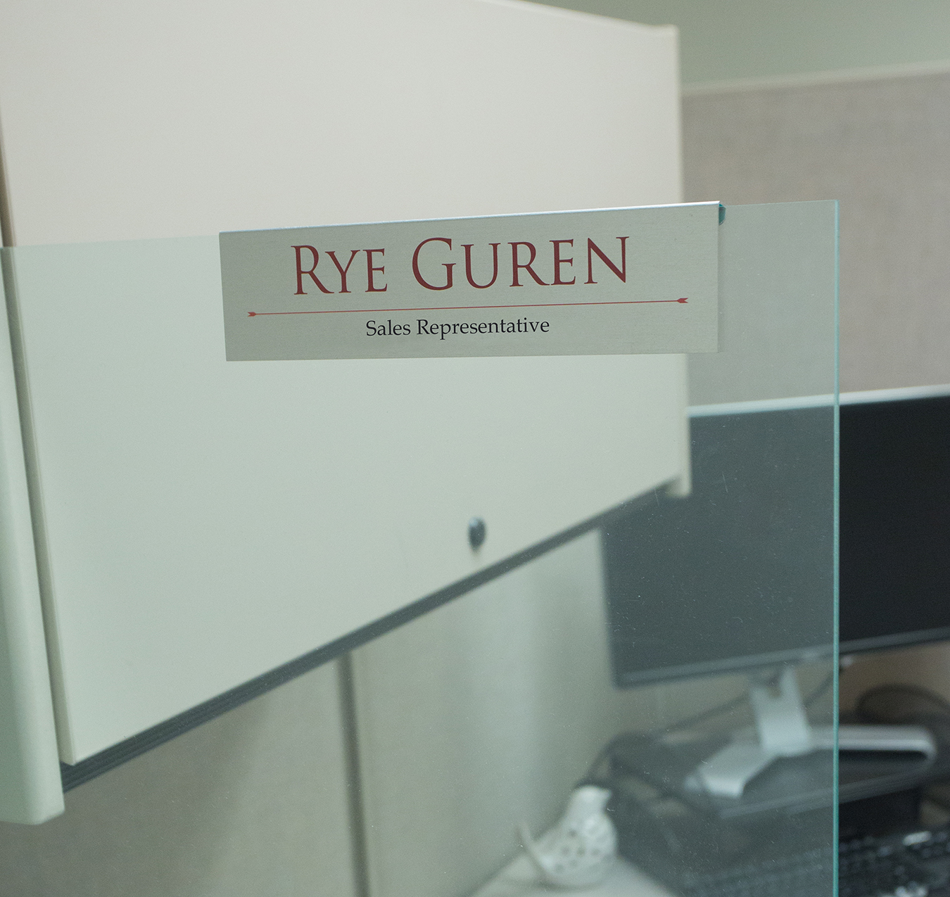 Glass cubicle nameplates for offices, printed in full color on durable metal - NapNameplates.com