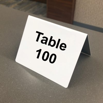numbered table tent sign