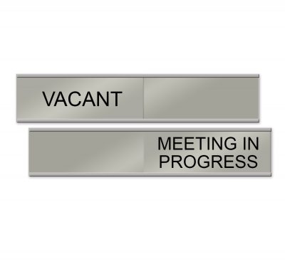 Sliding Sign for Meeting Rooms in Brushed Silver - NapNameplates.com