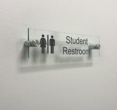 Clear Acrylic Sign for Student Restroom Doors or Walls - Nap Nameplates