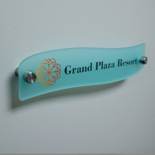 Wave Style Frosted Acrylic Name Plates for Walls Full Color Custom Printed - Nap Nameplates