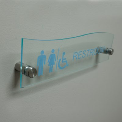 Full Color Printed Top Wave Style Designer Clear Acrylic Name Plates for Walls - Nap Nameplates