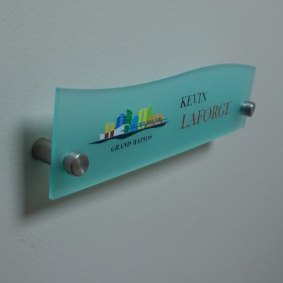 Full Color Printed Top Wave Designer Style Frosted Acrylic Name Plates for Walls - Nap Nameplates