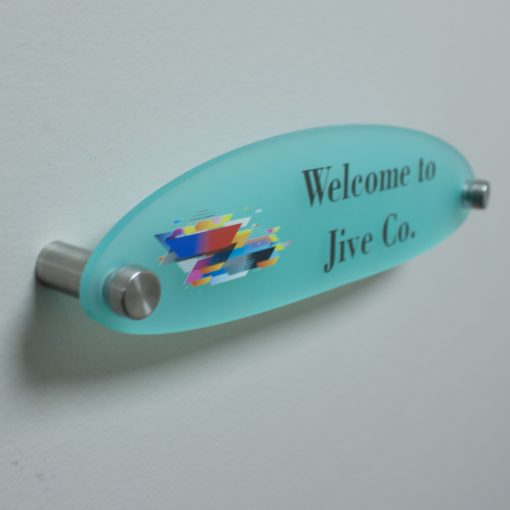 Full Color Printed Oval Shaped Frosted Acrylic Name Plates for Walls - Nap Nameplates