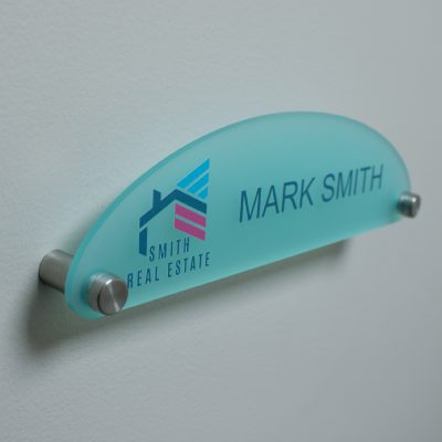 Half Oval Shaped Frosted Acrylic Name Plates for Walls Full Color Printed- Nap Nameplates