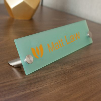 Rectangle Frosted Acrylic Office Nameplates for Desktops - Nap Nameplates
