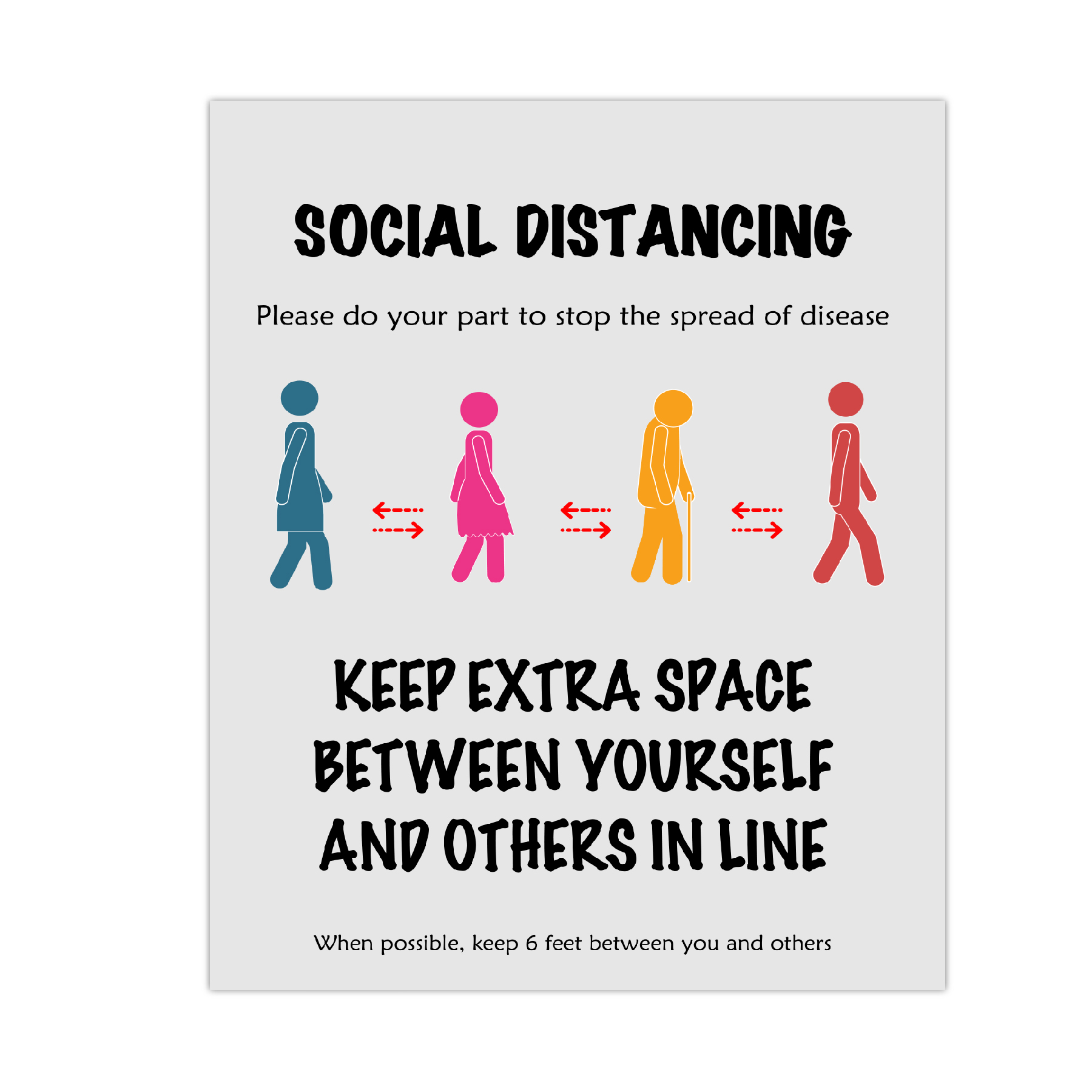 Social Distancing Poster To Stop Spread Of COVID-19 11x17