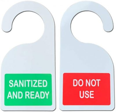 sanitized hanging door signs