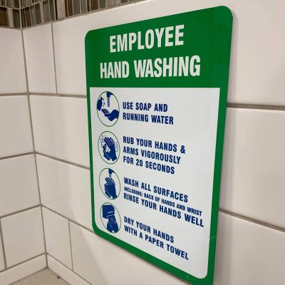 employee hand washing sign