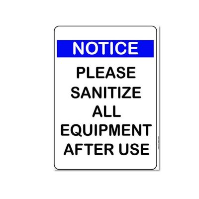 sanitize equipment sign