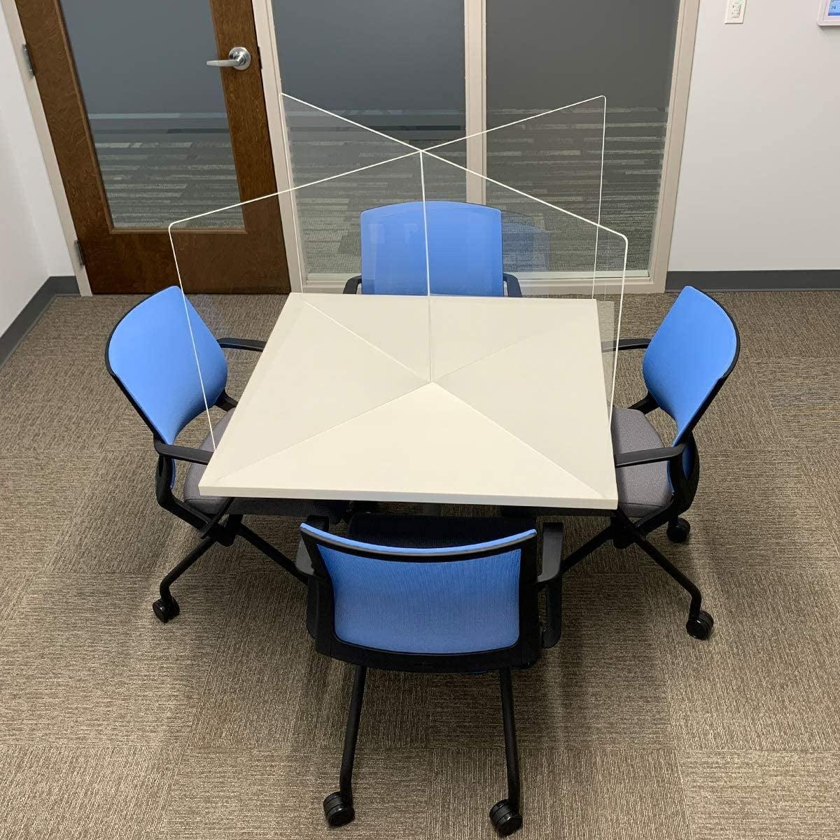 "Atezch/_ 16/""x16/"" Acrylic Table Top Divider Board Stand Plexiglass Sneeze Guard Plexy Glass Desk Shield Clear Desk Panel Barrier Acrylic Plexiglass Countertop Display Board"