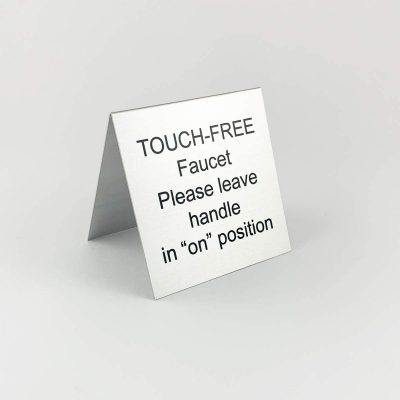 touch free table tent sign