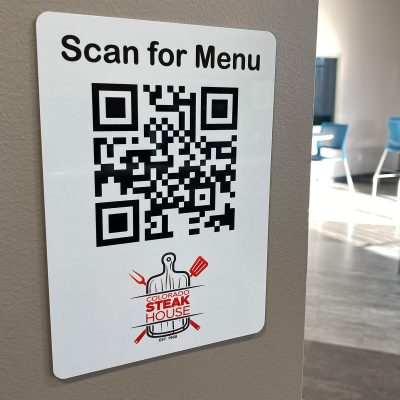 QR barcode menu sign for walls, white-coated aluminum metal - NapNameplates.com